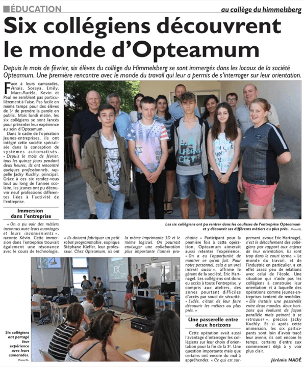 article d'une visite d'opteamum par six collegiens